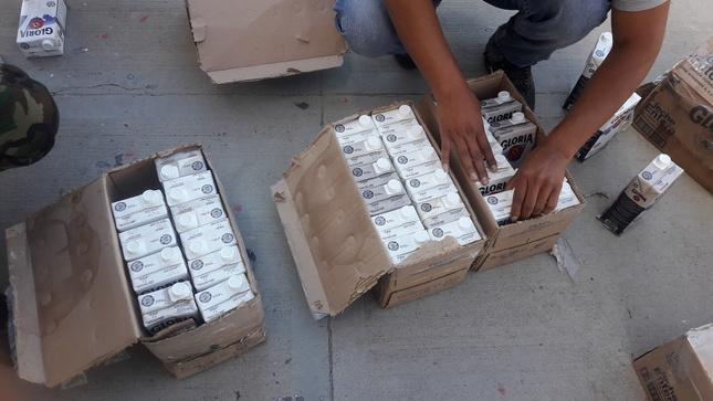 Decomisan insumos químicos camuflados en cajas de leche