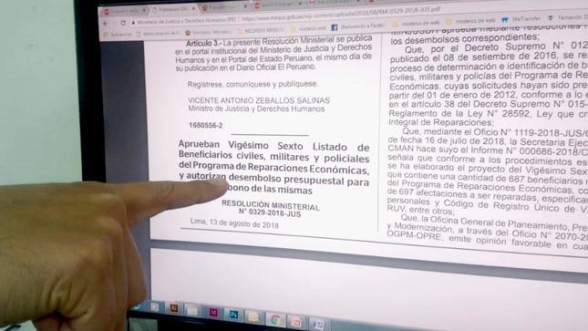 MINJUSDH otorga reparaciones económicas a 687 policías, militares y civiles afectados por el proceso de violencia