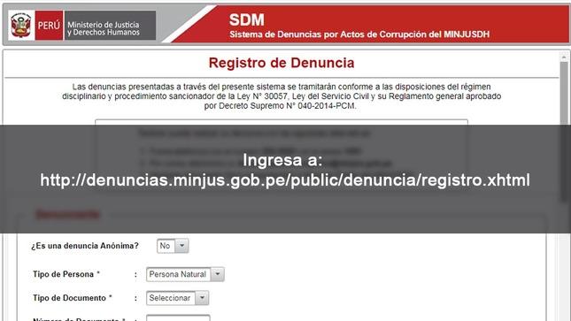 MINJUSDH presenta sistema en línea para denunciar hechos de corrupción
